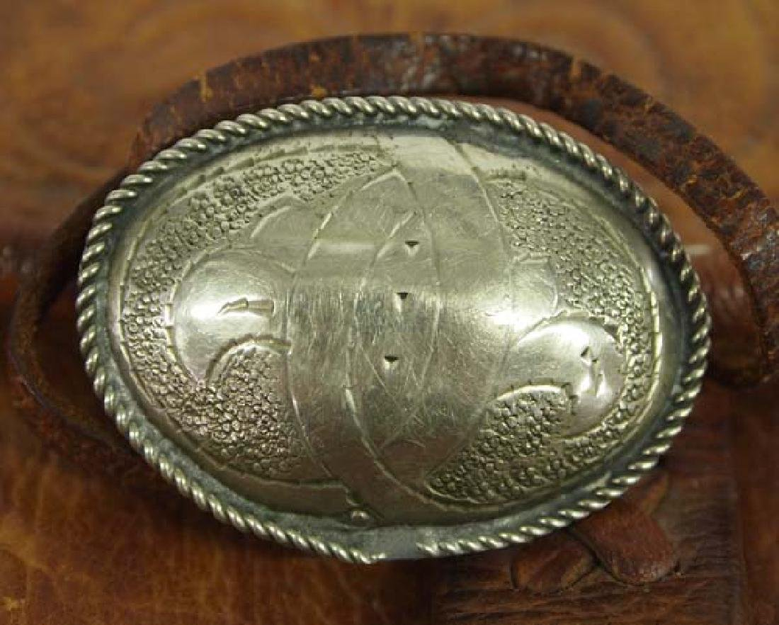 Tooled Leather Purse with Silver Buckle - 2
