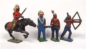 Antique Cast Metal Native American Toy Figures