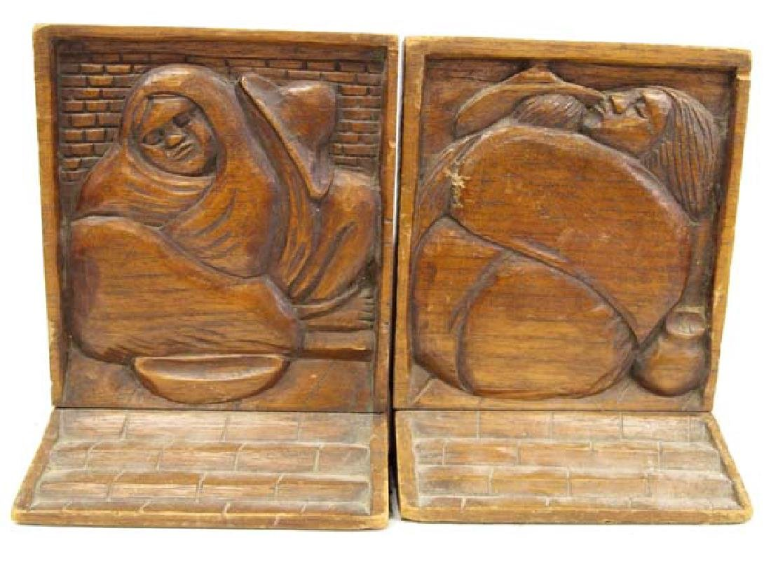 Vintage Mexican Folk Art Carved Wood Bookends