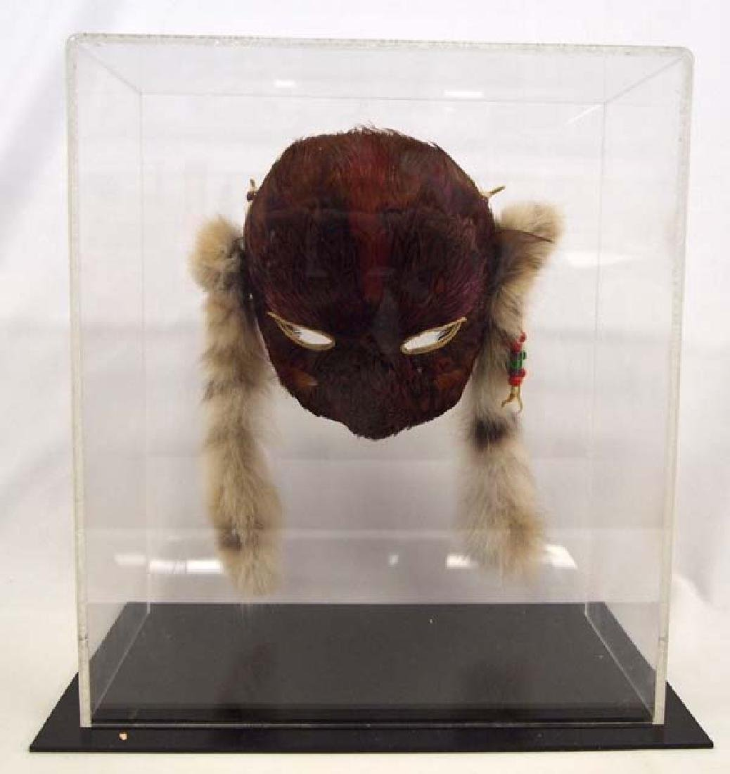 Native American Feather Mask in Display Case