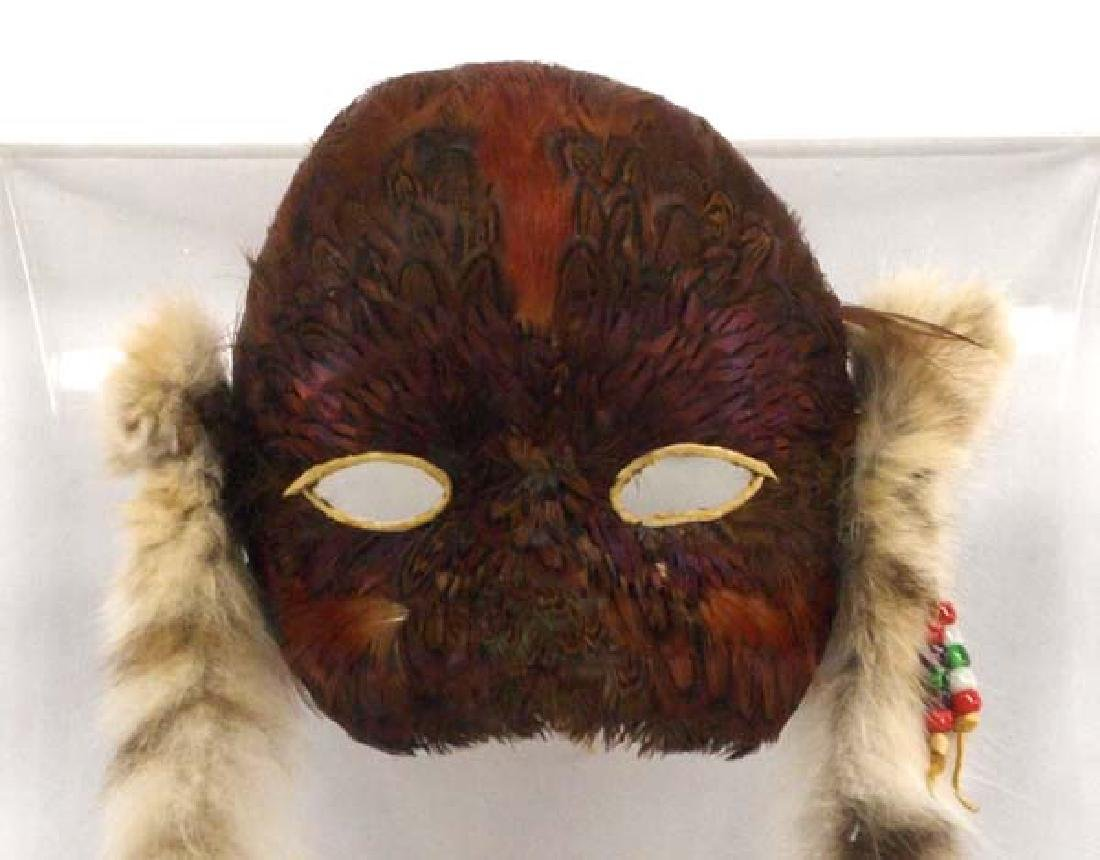 Native American Feather Mask in Display Case - 2