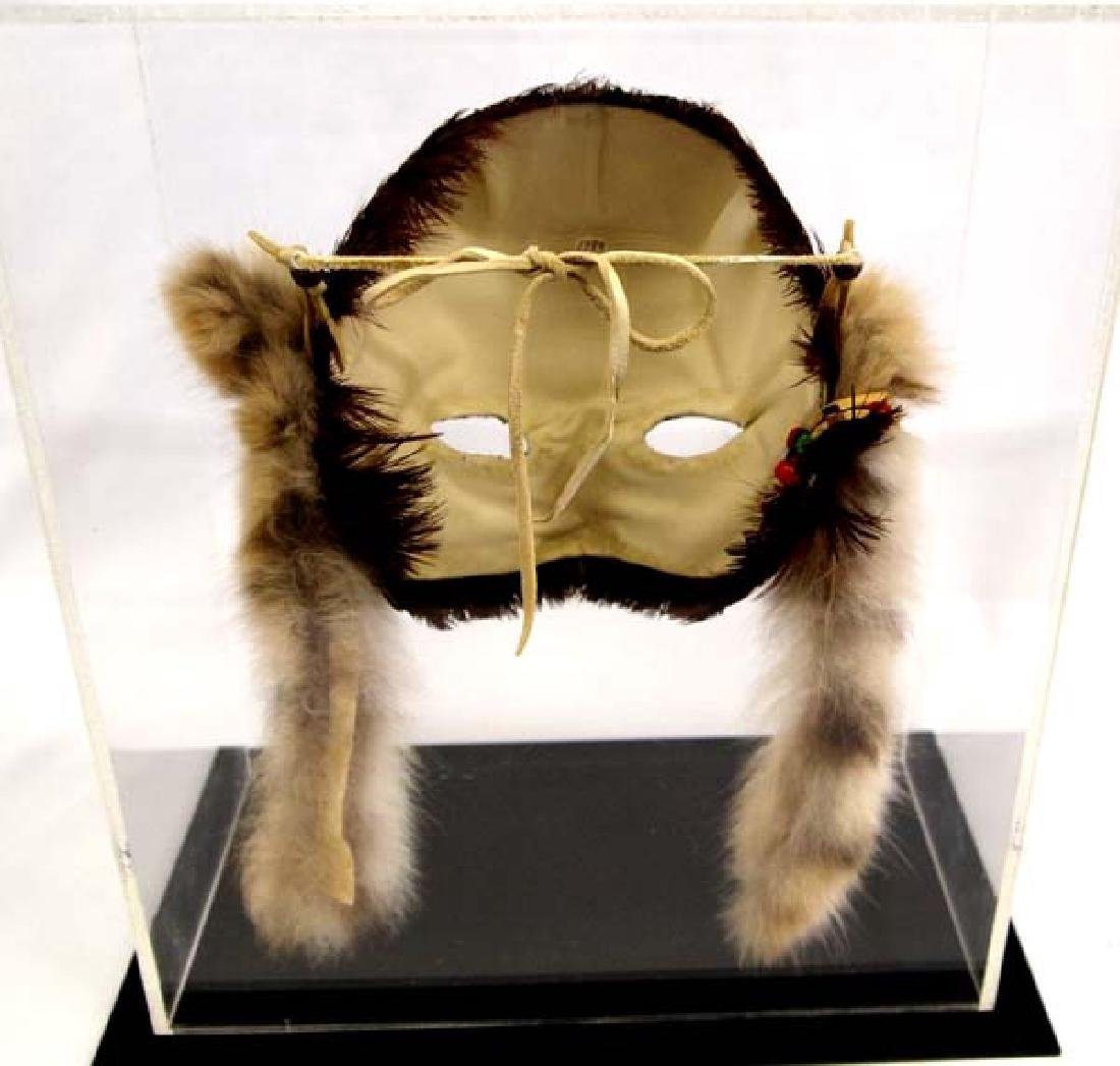 Native American Feather Mask in Display Case - 3