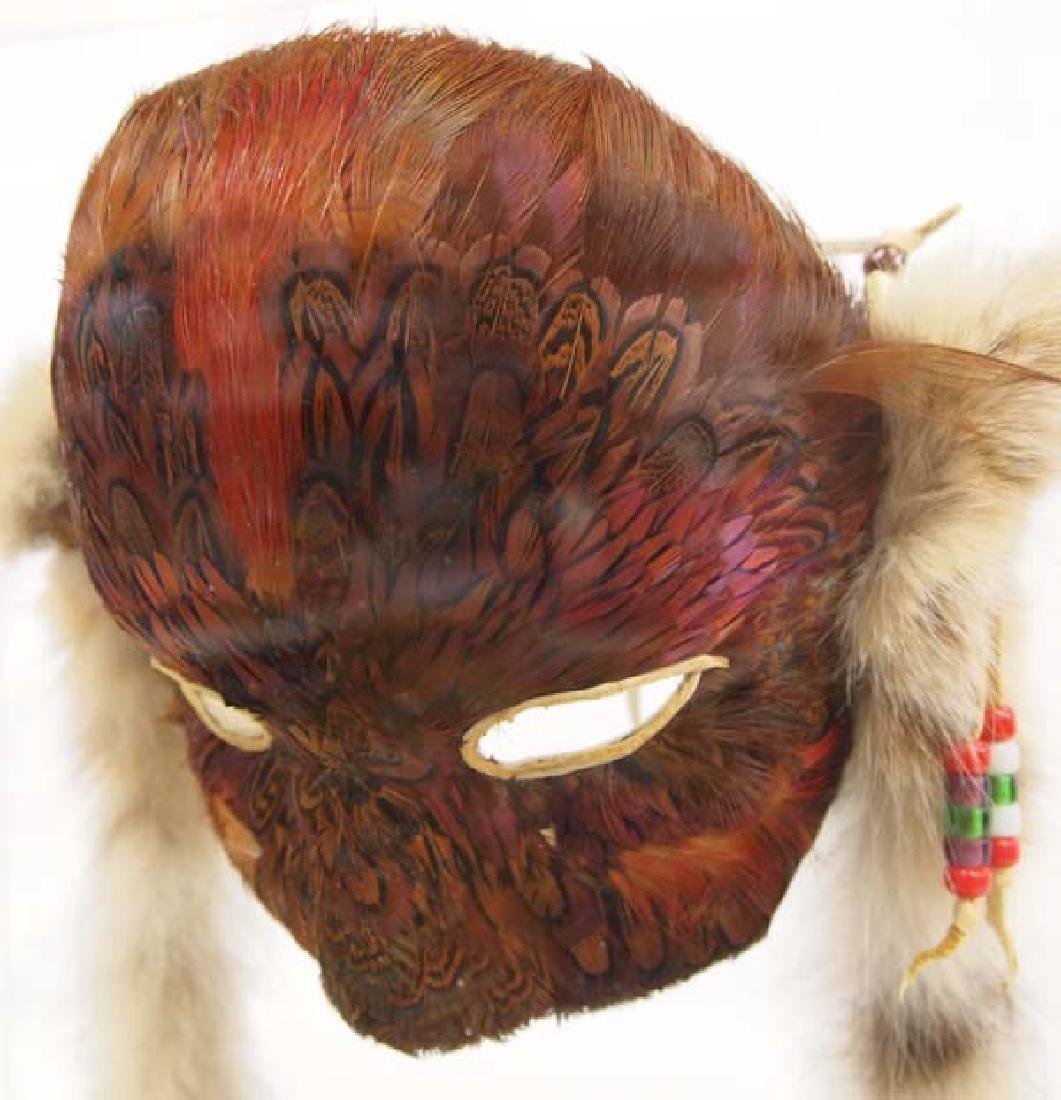 Native American Feather Mask in Display Case - 4