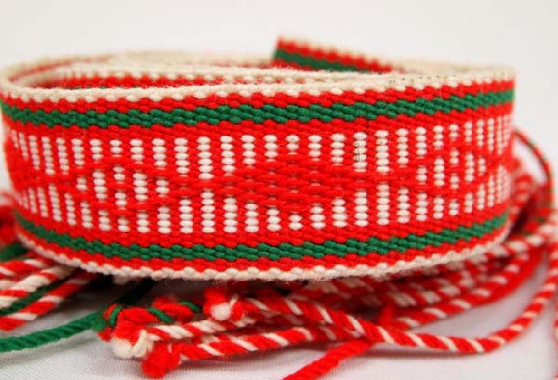 Navajo Finger Weave Fringed Dance Sash - 2