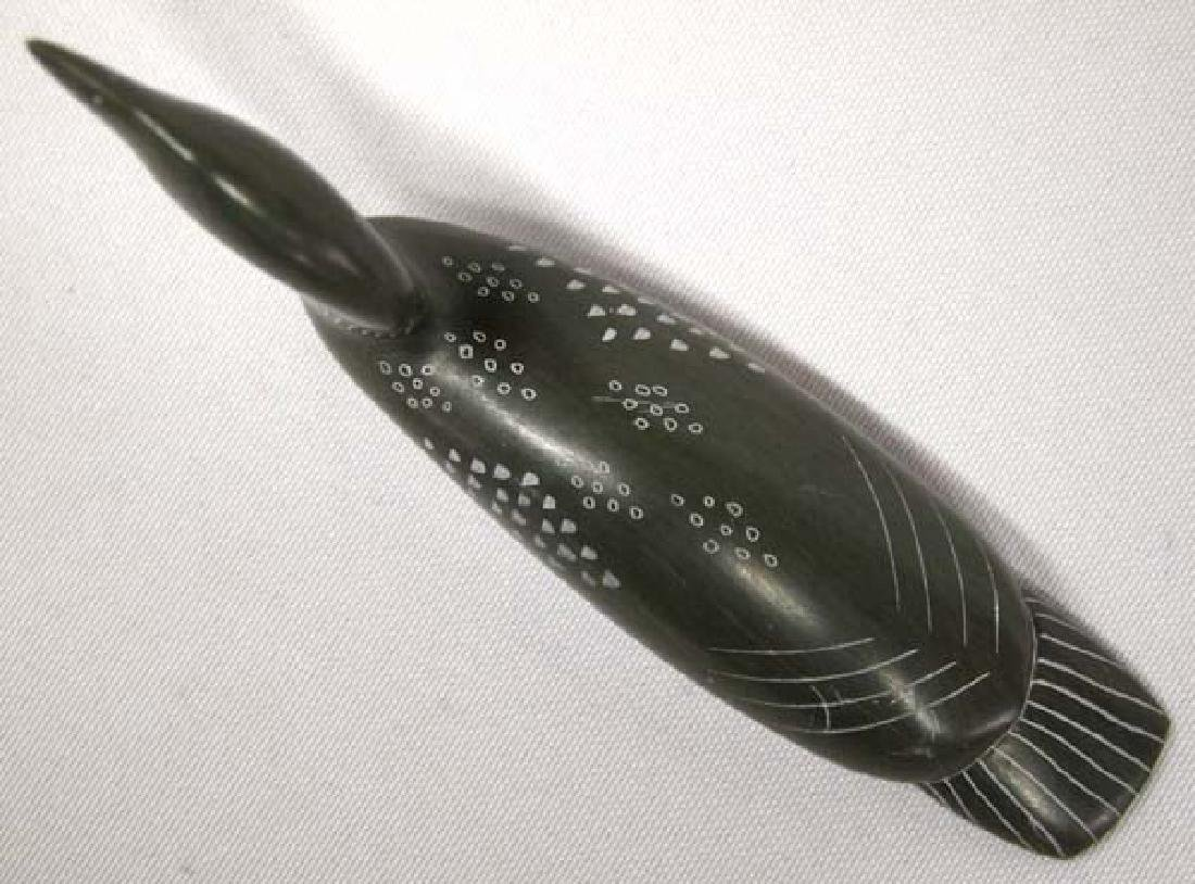 Canadian Inuit Carved Stone Loon by Isaac Amitook - 3