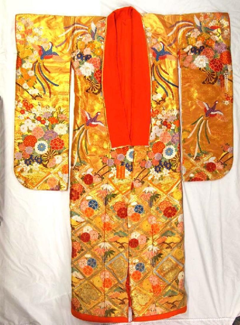 XL Japanese Gold Gilt Embroideried  Wedding Kimono