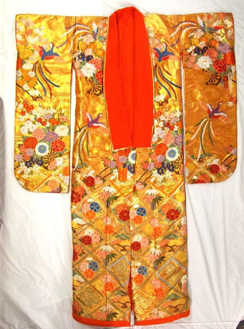 XL Japanese Gold Gilt Embroideried  Wedding Kimono