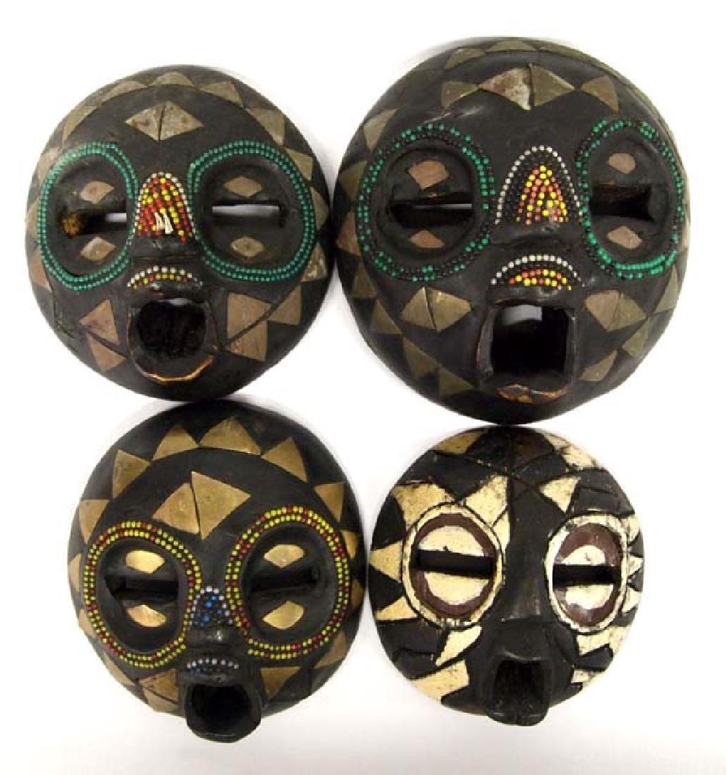 4 African Ashanti Baluba Masks