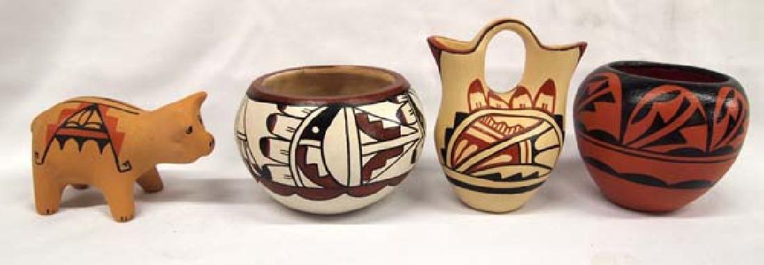 4 Pieces of Native American Jemez Pueblo Pottery