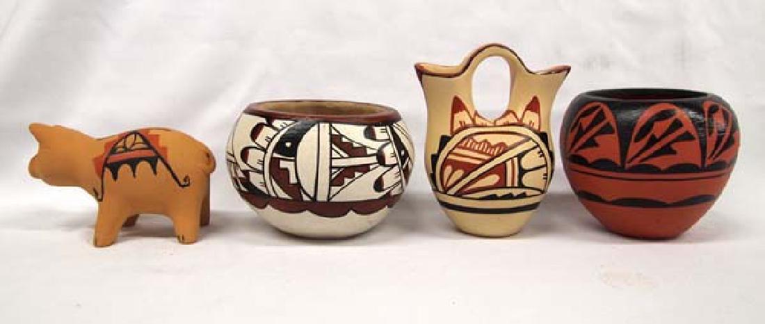 4 Pieces of Native American Jemez Pueblo Pottery - 3