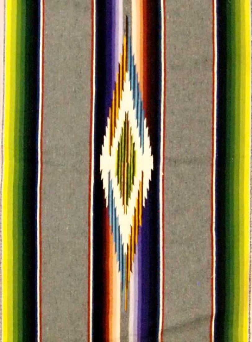 Beautiful Vintage Mexican Saltillo Wool Blanket - 2
