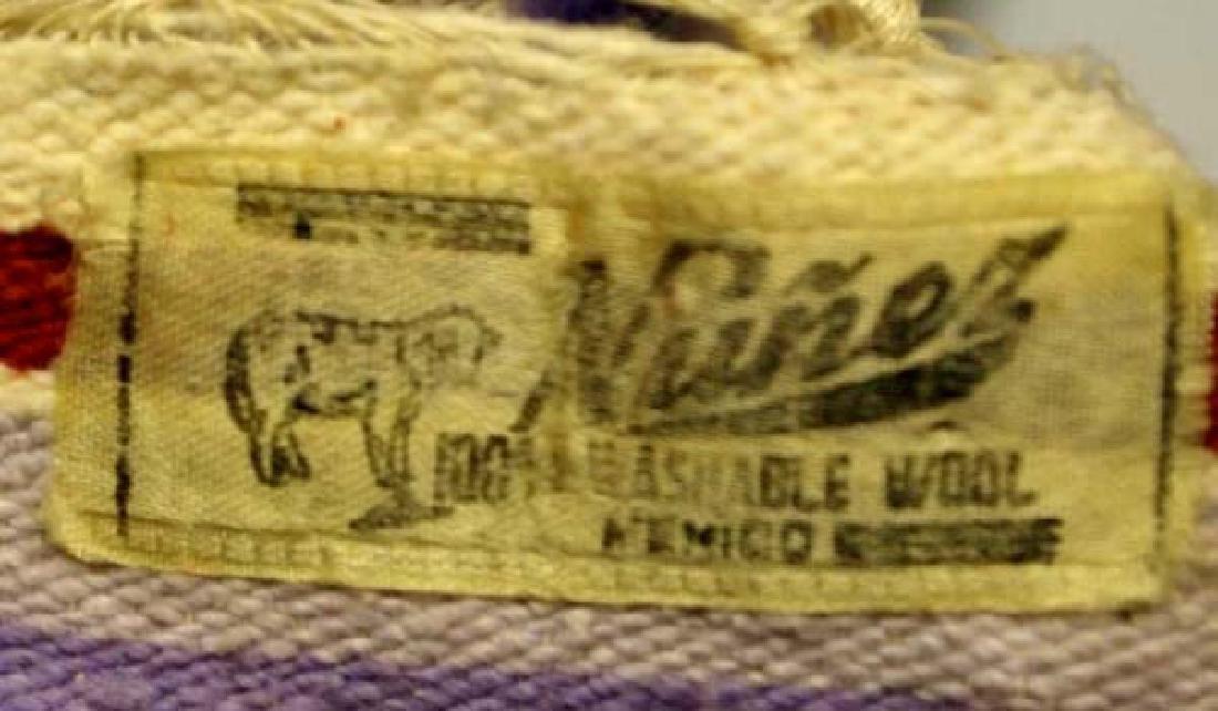 Beautiful Vintage Mexican Saltillo Wool Blanket - 3