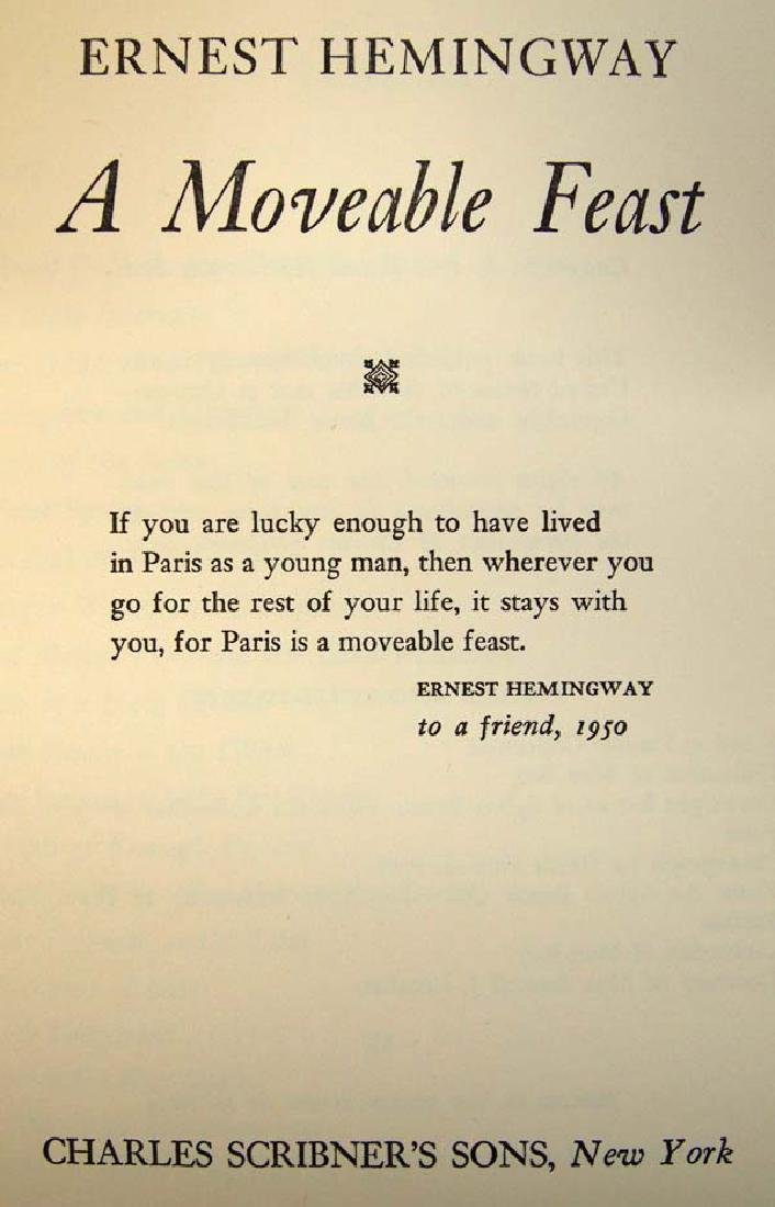 1st Edition, A Moveable Feast by Ernest Hemingway - 2