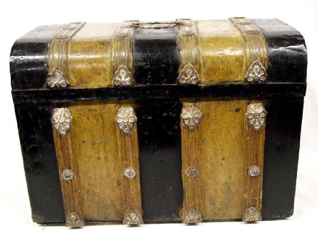 Antique Mexican Metal Clad Wood Stagecoach Trunk