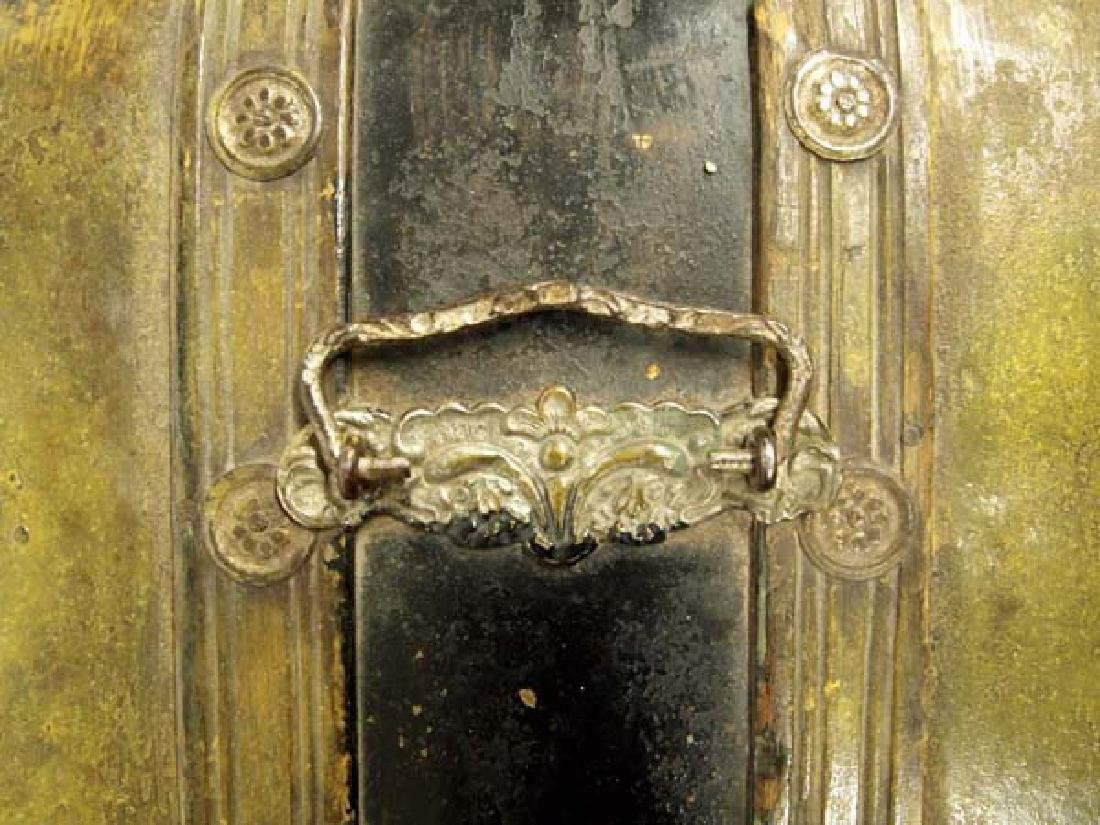 Antique Mexican Metal Clad Wood Stagecoach Trunk - 6