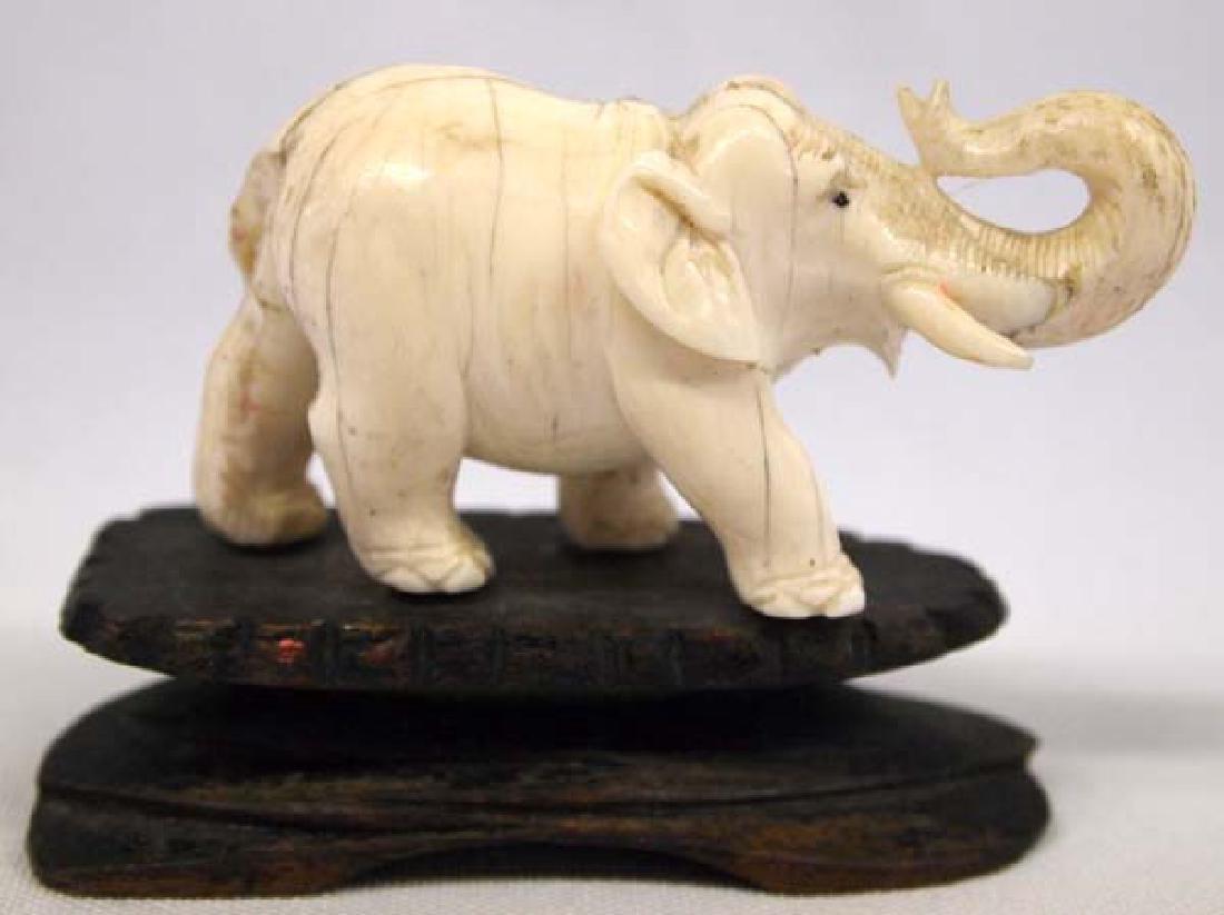 Carved Ivory Elephant on Wood Base - 2
