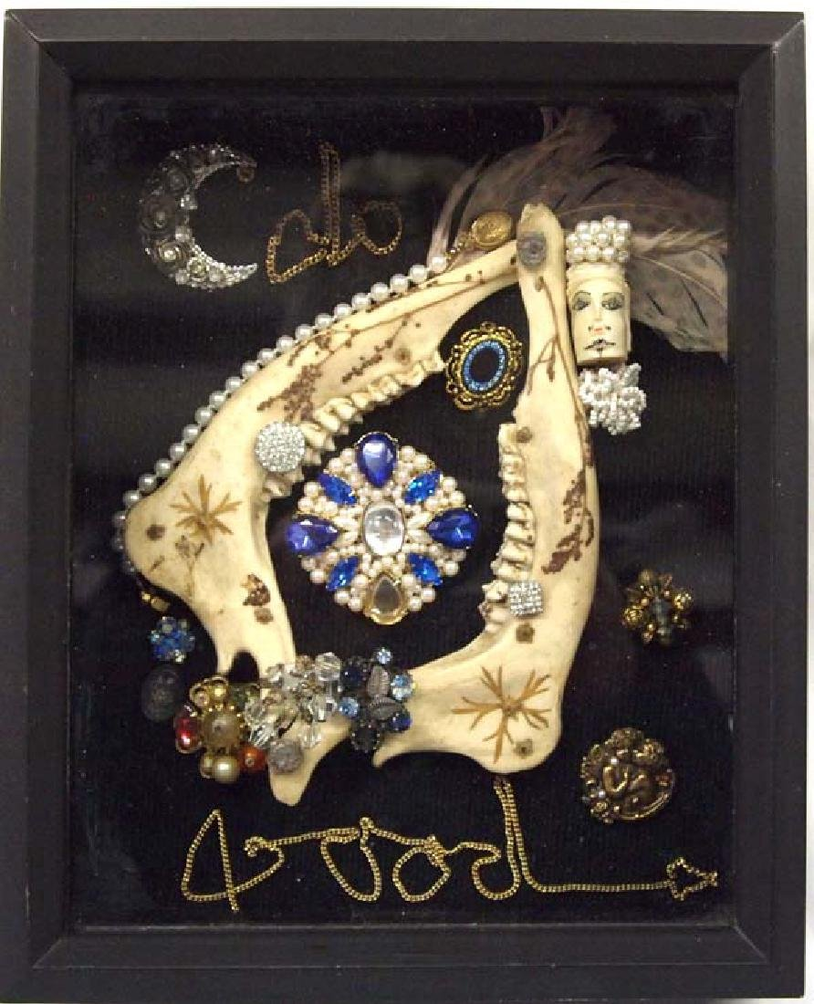Shadowbox Frame of Antique Jewelry