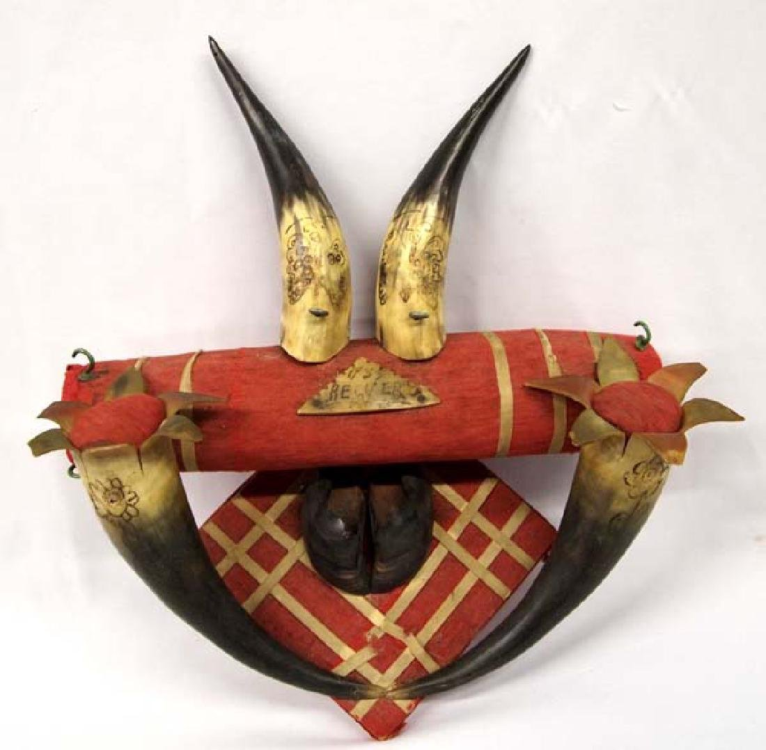 Vintage 1933 Mexican Bull Horn Hat and Key Rack