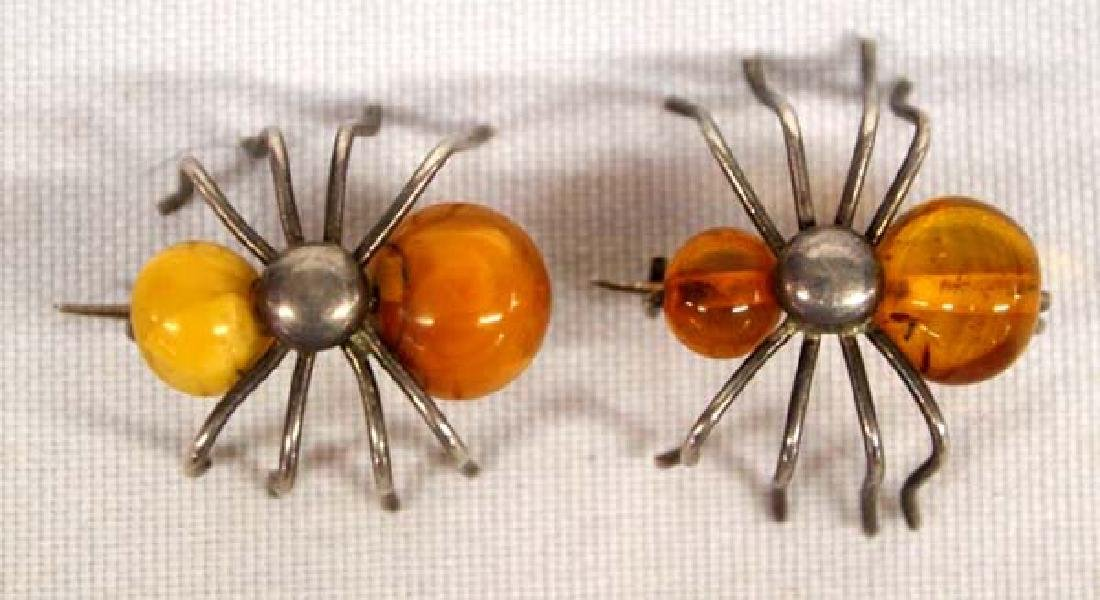 Antique Sterling Silver Amber Ant Pins