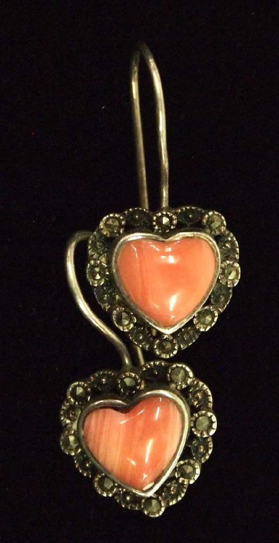 Sterling Silver Angel Coral and Marcasite Earrings