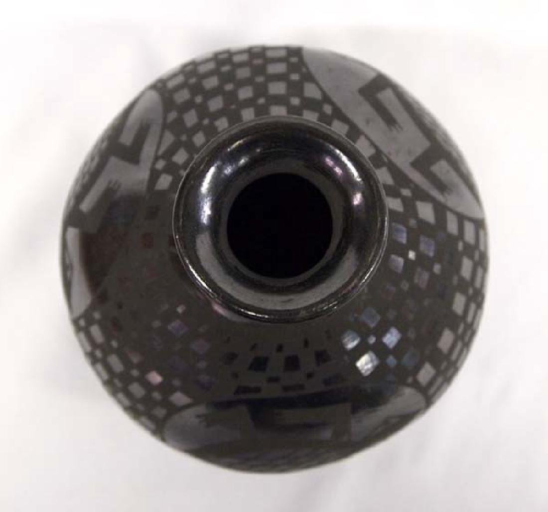 Mexican Mata Ortiz Black on Black Jar by Sandoval - 2