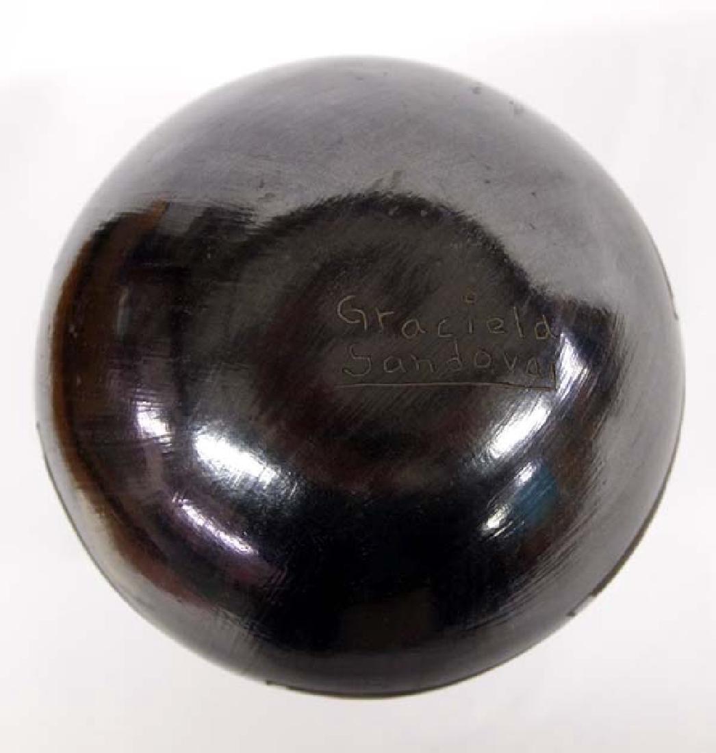 Mexican Mata Ortiz Black on Black Jar by Sandoval - 3
