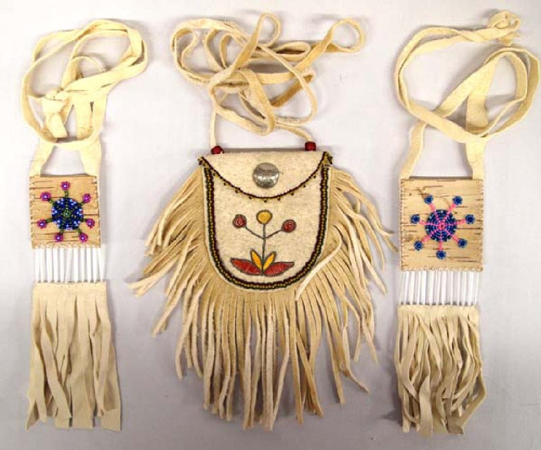 3 Native American Beaded Leather Pouches