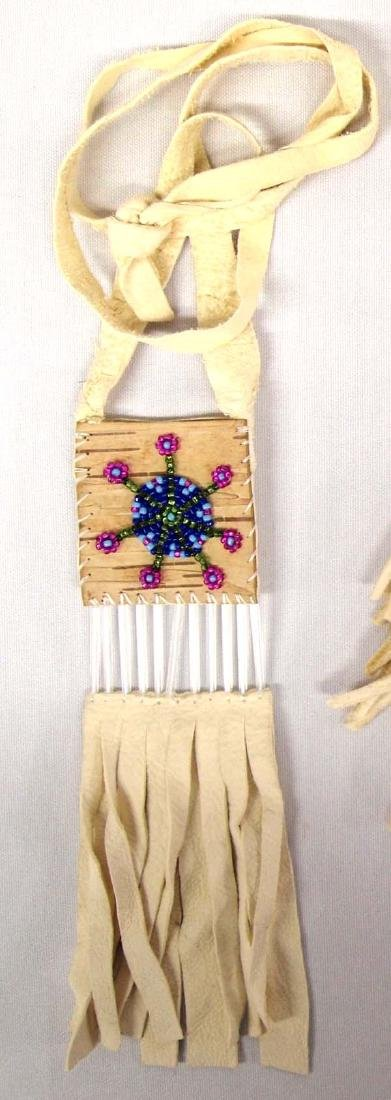 3 Native American Beaded Leather Pouches - 2