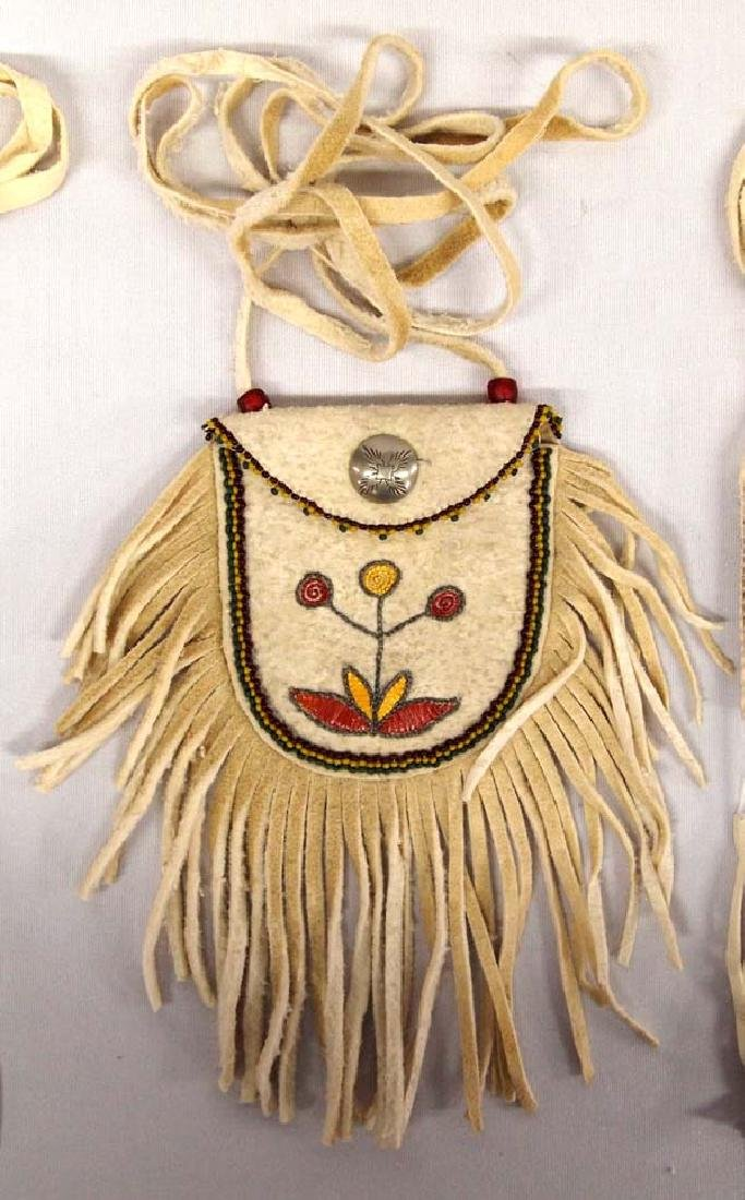 3 Native American Beaded Leather Pouches - 3