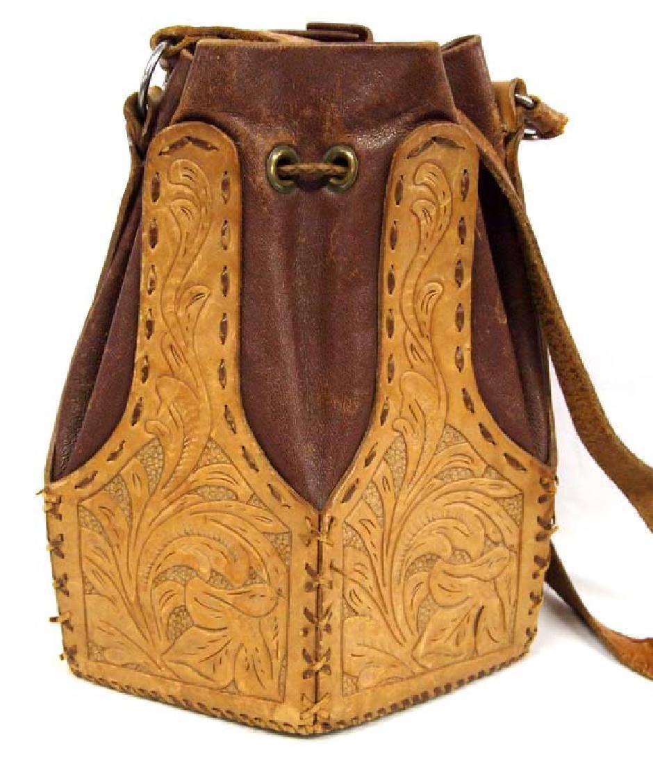 Vintage Hand Tooled Leather Drawstring Purse