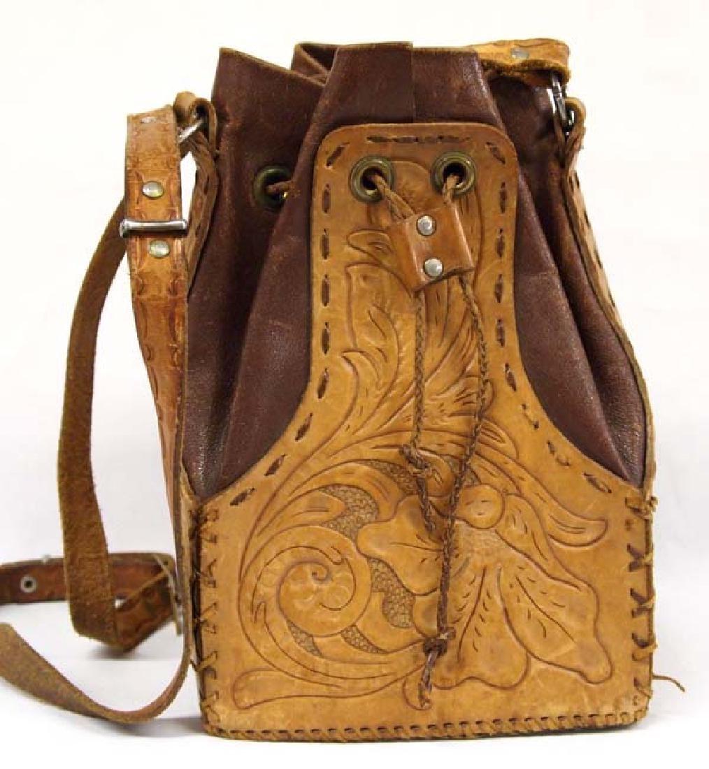Vintage Hand Tooled Leather Drawstring Purse - 2