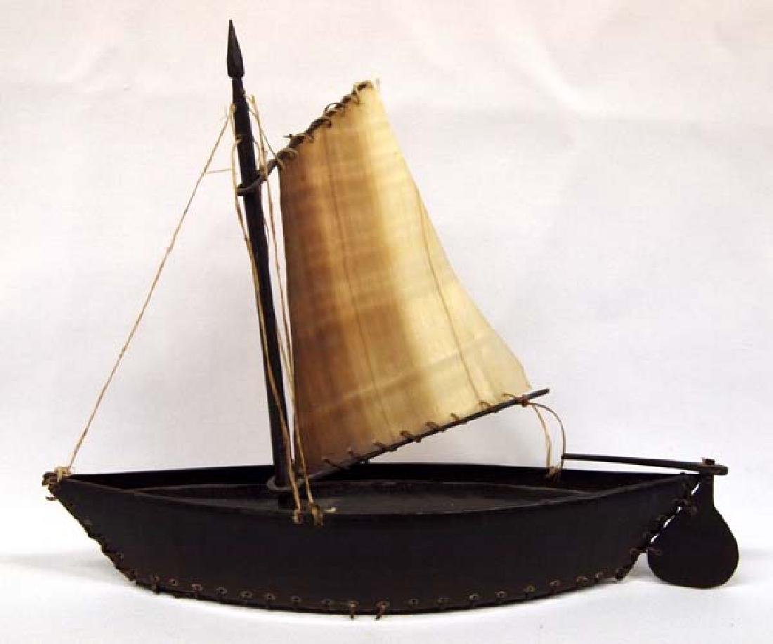 Canadian Inuit Umiaq with Sail by Wesley Elak