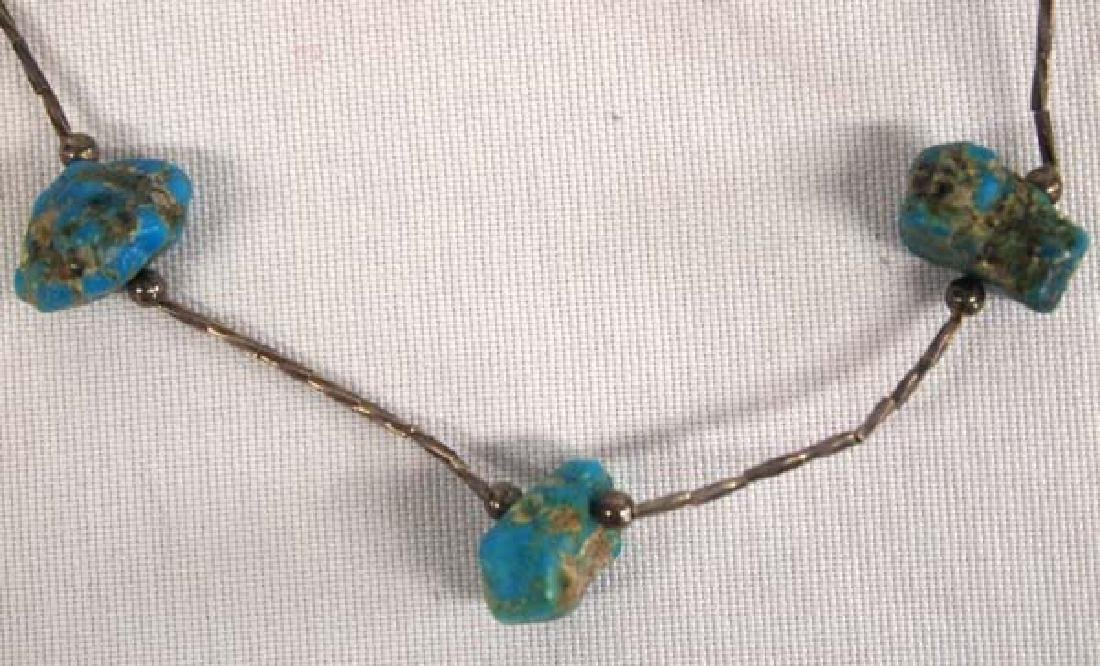 Antique Navajo Silver Turquoise Nugget Choker