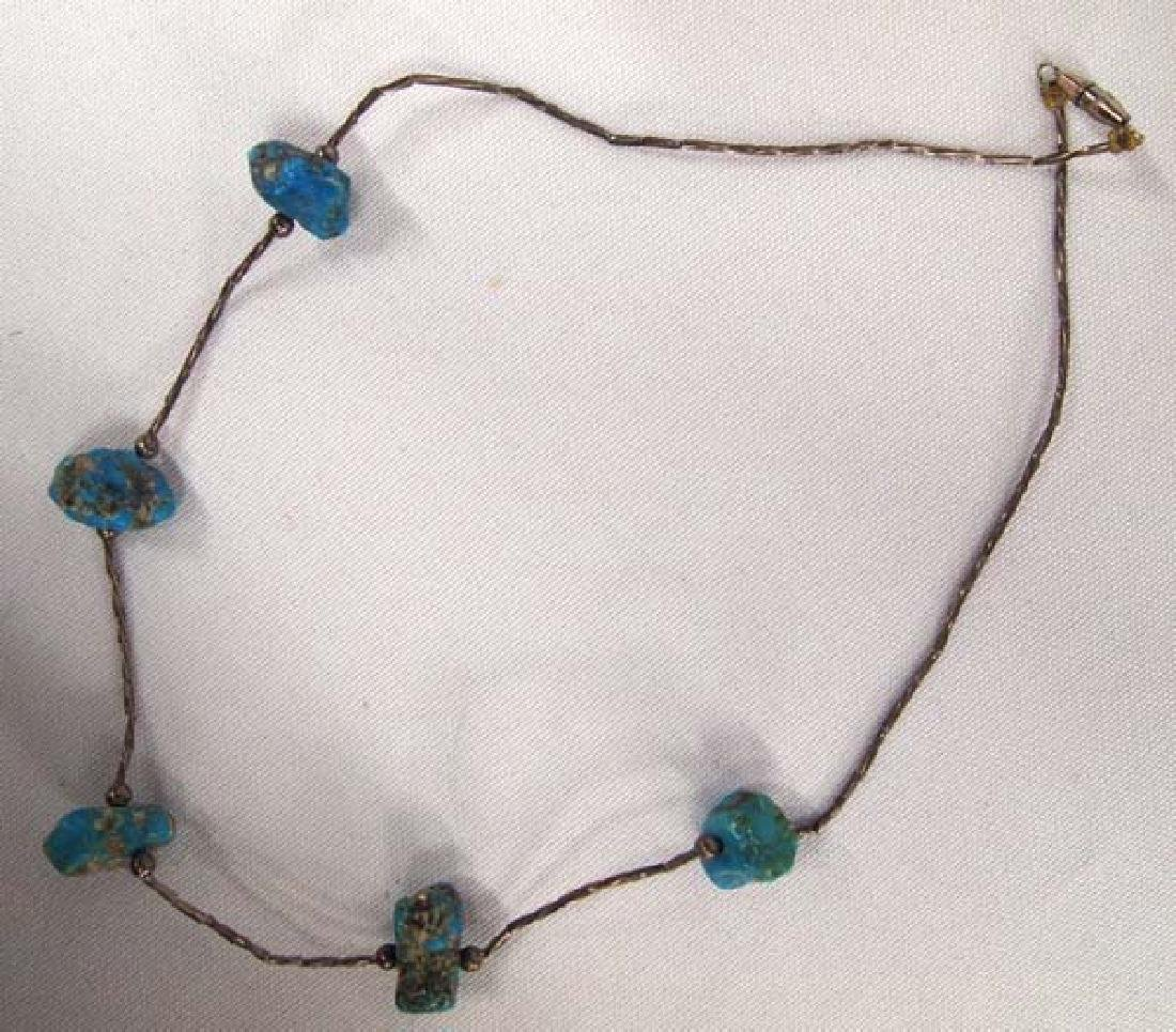 Antique Navajo Silver Turquoise Nugget Choker - 2