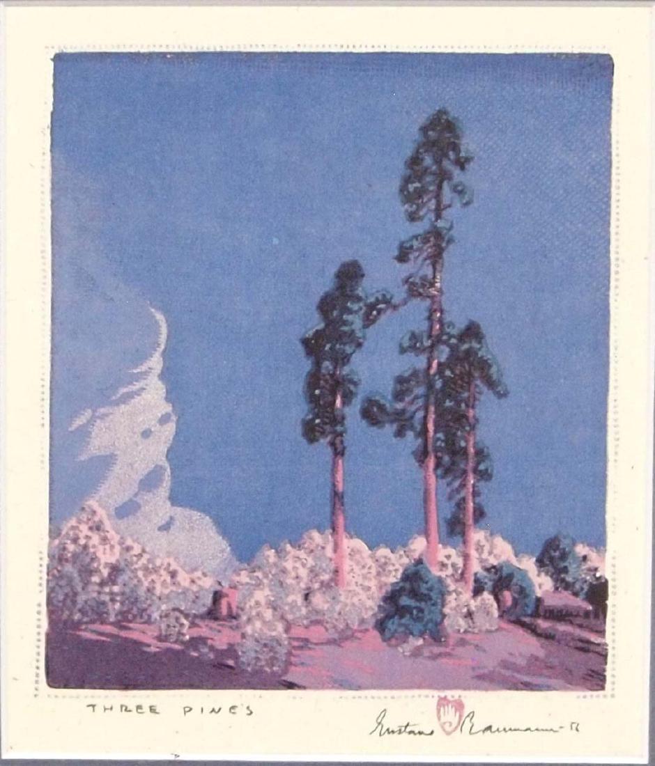 Gustave Baumann Print Three Pines - 4
