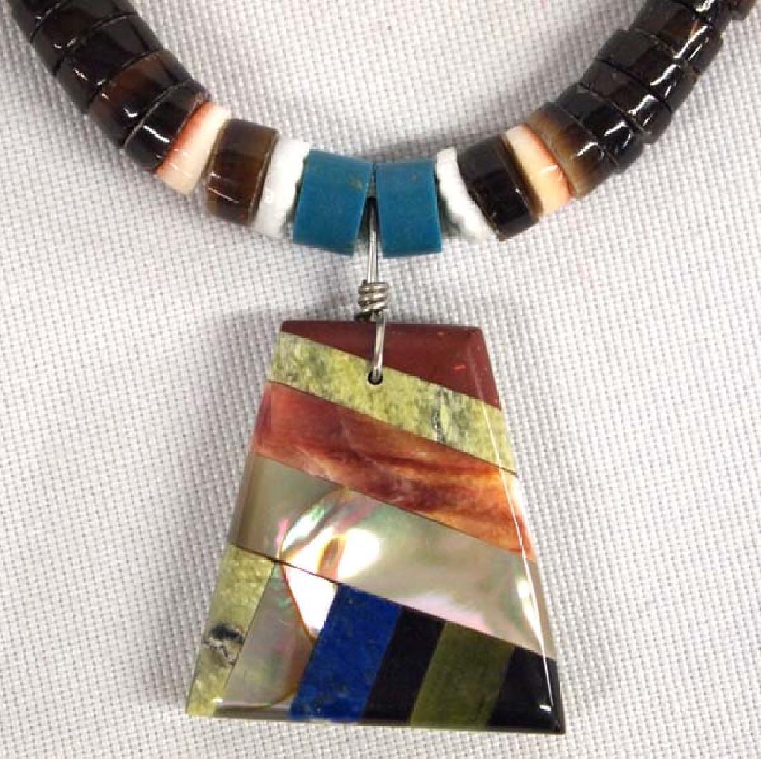 1950s Zuni Silver Serpentine Inlay Necklace
