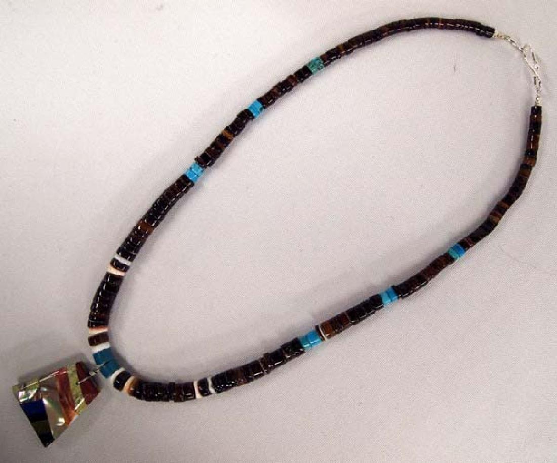 1950s Zuni Silver Serpentine Inlay Necklace - 2