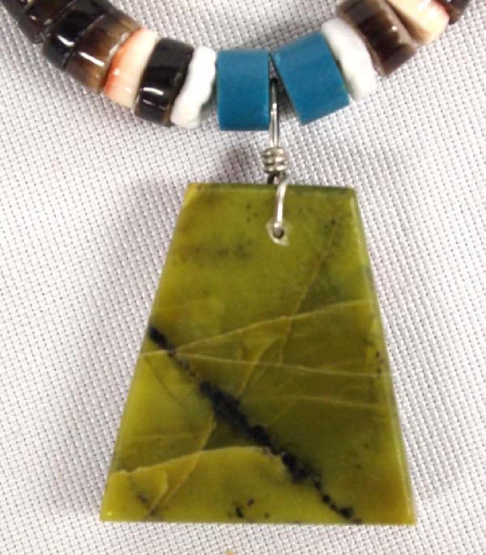 1950s Zuni Silver Serpentine Inlay Necklace - 4