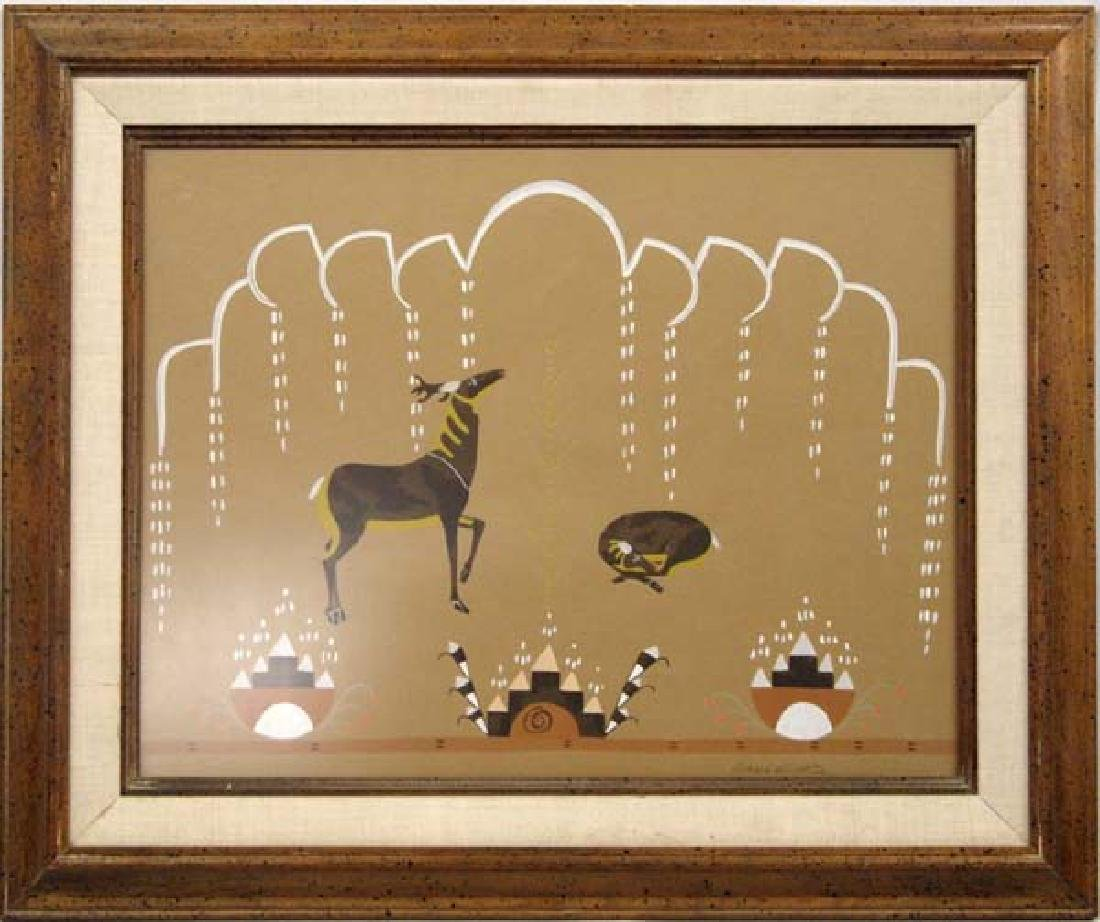 Vintage Lithograph Deer in the Rain by R. Martinez