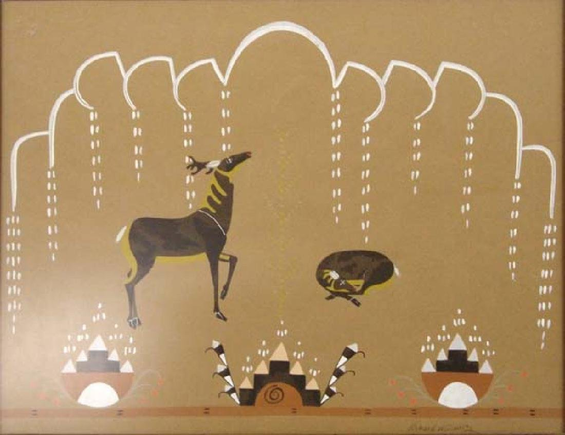 Vintage Lithograph Deer in the Rain by R. Martinez - 2