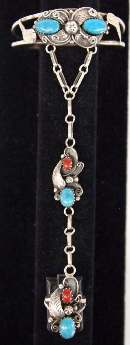 Navajo Sterling Silver Turquoise Slave Bracelet