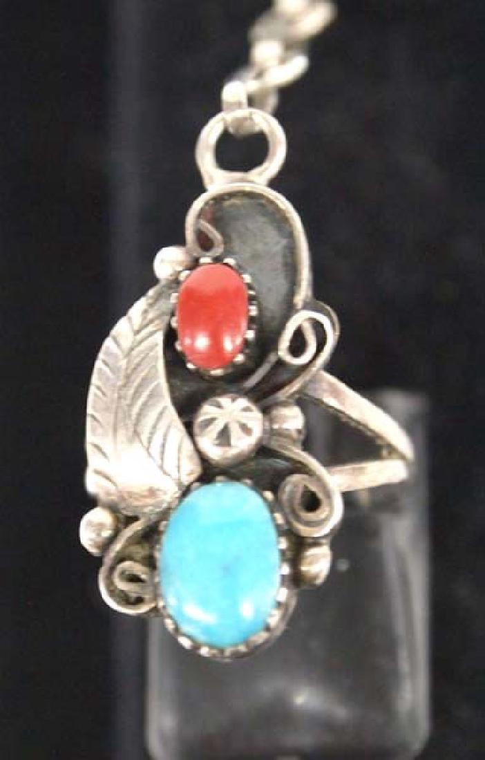 Navajo Sterling Silver Turquoise Slave Bracelet - 2