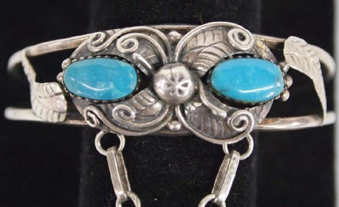 Navajo Sterling Silver Turquoise Slave Bracelet - 3