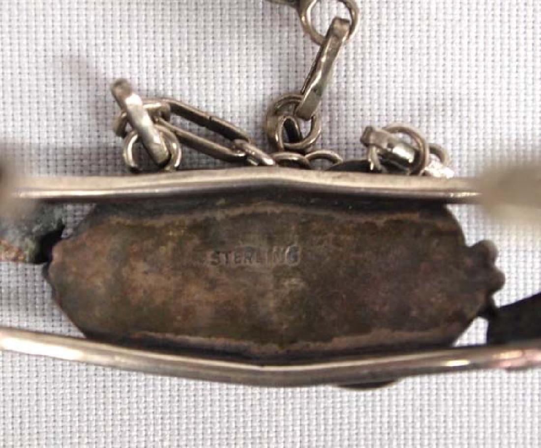 Navajo Sterling Silver Turquoise Slave Bracelet - 4