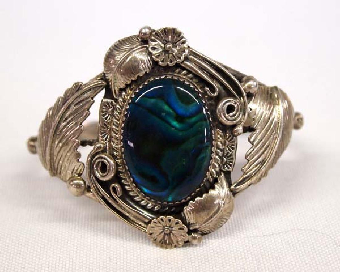 Navajo Sterling Silver and Paua Shell Bracelet