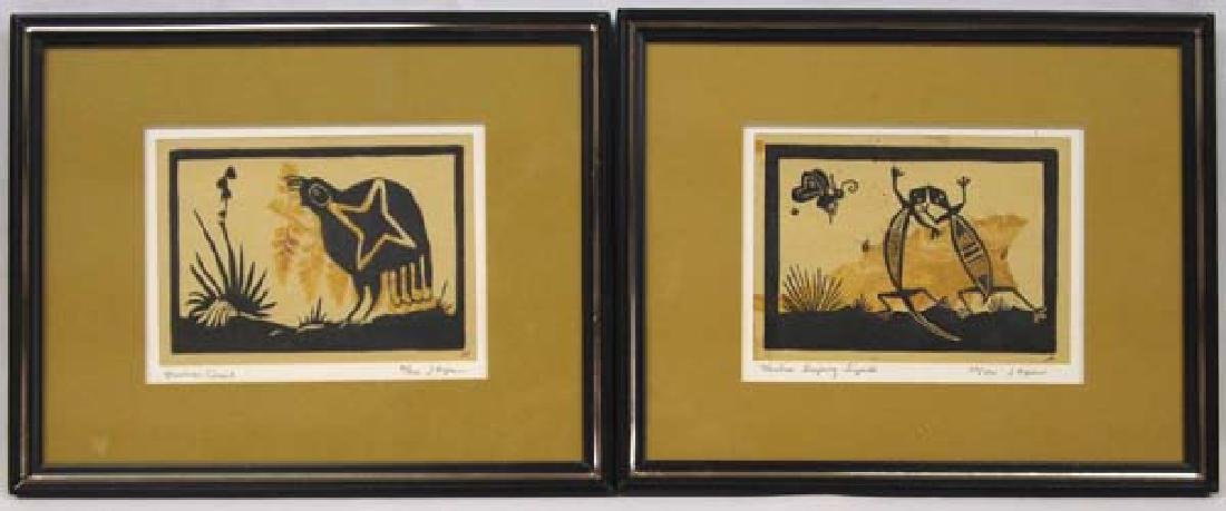 2 Original Mimbres Lino Block Prints, J. Hopkins