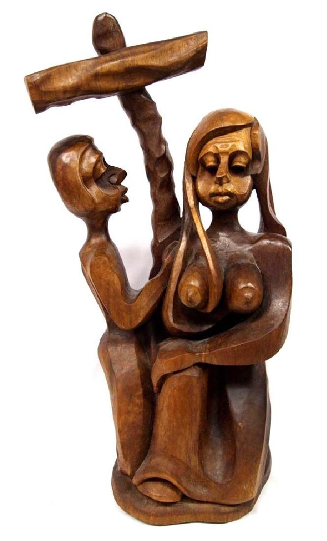 Religious Carved Wood Statue