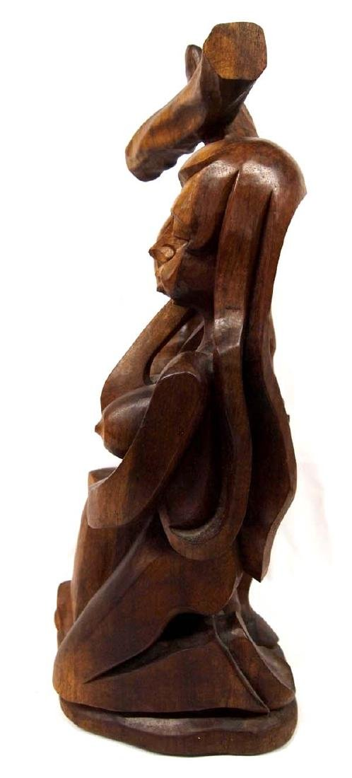 Religious Carved Wood Statue - 2