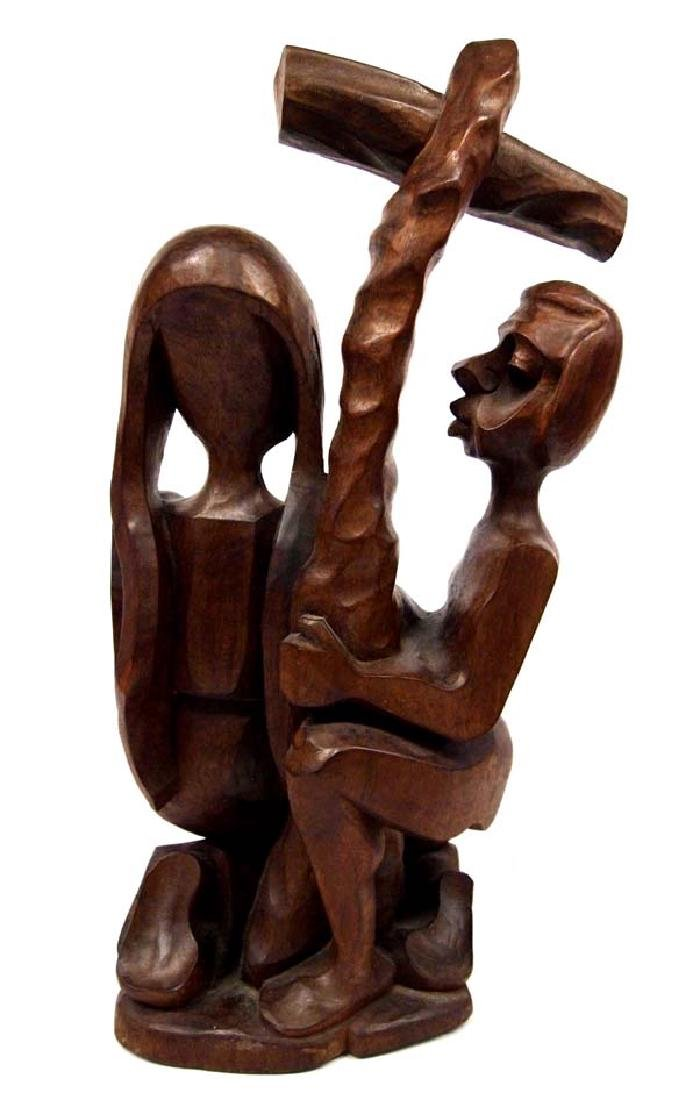 Religious Carved Wood Statue - 3