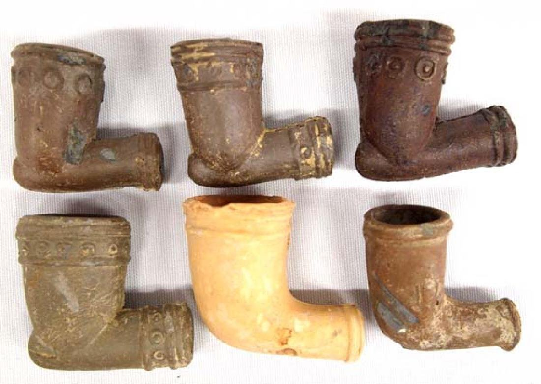 Collection of Native American Pottery Trade Pipes